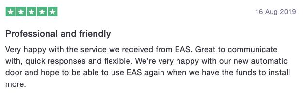 Customer testimonial EAS 3